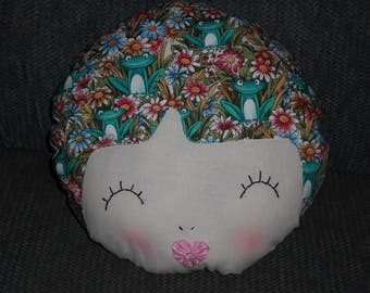 Doll face Pillow- Frogs in my hair! - Accent pillow