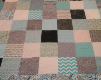 turquoise, gray, cream  and  yellow queen size quilt