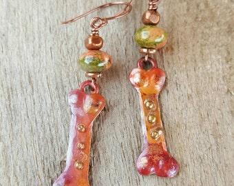 COPPER Dog Bone Earrings - Unakite - Dog Lover Earrings - Dog Rescue Earrings - Rustic Jewelry - Cowgirl Earrings