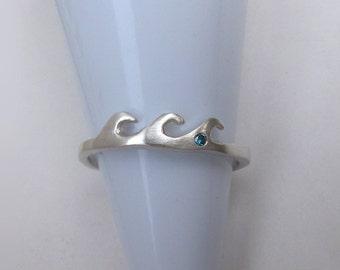 Blue Diamond Silver Wave Ring, Unique Stack Ring, Diamond Nature Ring, Nature Jewelry, Surfing Ring