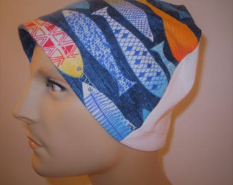 Mens Flannel Colorful Fish Chemo Hat Sleep Cap Cancer Cap Keep Bald Heads Warm cj hats