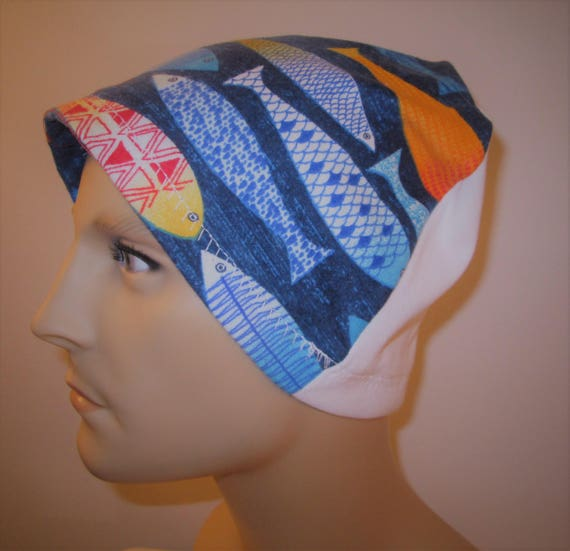 Mens Flannel Colorful Fish Chemo Hat Sleep Cap Cancer Cap Keep Bald Heads Warm cj hats