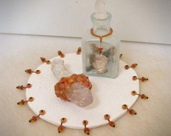 MOTIVATED & ENERGIZED mini altar, 3 piece set with >>> Deerskin Mat, antique bottle with OSHA and Quartz Crystal, mini wand <<< ritual tool