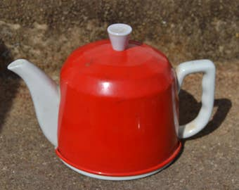 Vintage Red and White Insulated Teapot