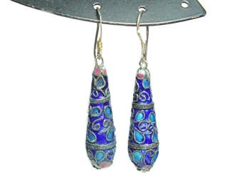 cloissonne sterling silver french hook dangle earrings