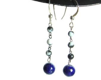 Lapis Lazuli sterling silver beaded dangle earrings