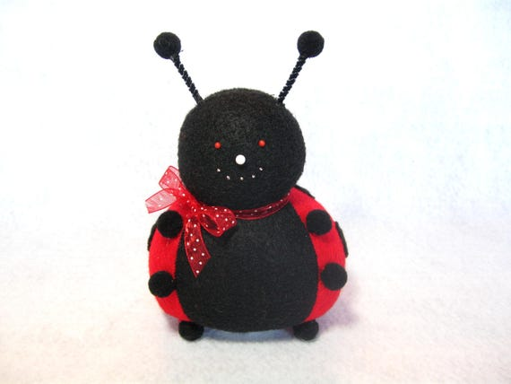 Cute Ladybug, Ladybug pincushion, Red and black, Spotted bug, Cute insect, Sewing gift, Insect lover, Soft felt bug, Stuffed ladybug doll