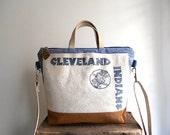 Vtg Cleveland Indians canvas tote, crossbody bag, stripe denim - Baseball - eco vintage fabrics