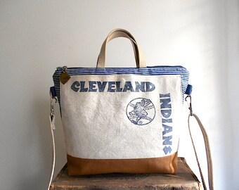 Vtg Cleveland Indians & indigo stripe denim crossbody, satchel, tote bag - Rootstown Kent Ohio - eco vintage fabrics