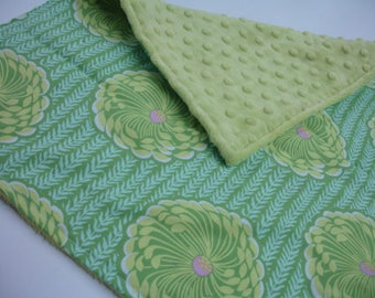 Delhi Blooms with Lime Minky Baby Burp Cloth 15 X 17 READY TO SHIP On Sale