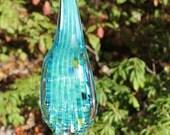 Turquoise Blue Glass Leaf Garden Art Sculpture Outdoor Decoration Garden Finial