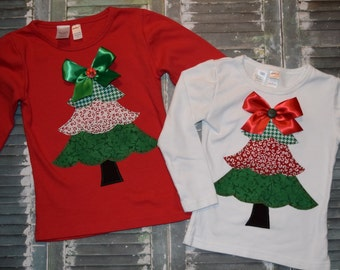 """Custom  Girls Christmas frilly tree """"O CHRISTmAS TReE"""" collection  tee shirt red or white sizes 6-12-18-24 mth 2T 3/4 - 5/6 - 7/8 - 9/10"""