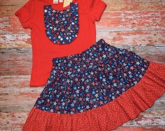 AMERICANA Girls Red Bib Style Tee with skirt size 10   July 4 RED WhITe & BLUE  patriotic Ready to Ship!