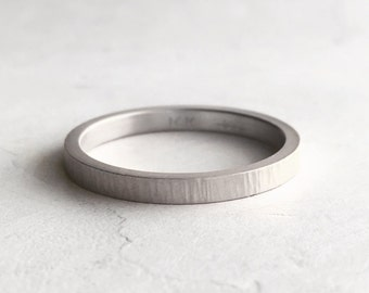 2mm White Gold Wedding Band | Tree Bark Texture| Rustic Texture 10k 14k 18k Gold | White Gold Women's Wedding Ring