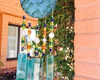 Windchime Lizard Teal Garden Decor Gift Yard Art Porch Decor