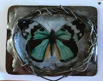 Soldered Metal Wire Handmade Bezel....butterfly #1