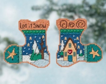Cross Stitch Kit, Let it Snow Stocking Ornament Counted Cross Stitch Kit by Mill Hill, Sticks, Christmas Pattern WI