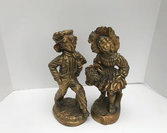 Boy Girl Statue Set Vintage Italy