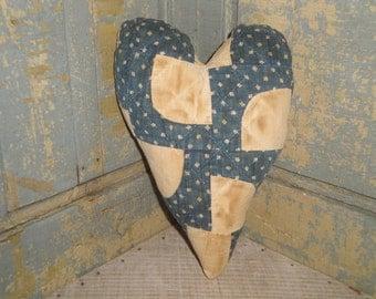 LARGE Old Quilt Heart| Vintage Quilt Heart | Antique Quilt Heart | Primitive Quilt Heart | Old Blue Calico Quilt Heart