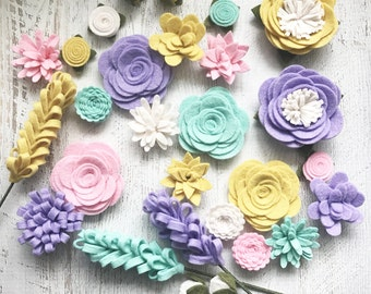Wool Felt Fabric Flowers - Flower Embellishment - Spring - Large Posies - 28 Flowers & 20 leaves - Create Headbands, DIY Wreaths, Garlands