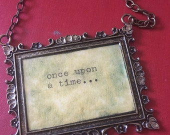 Once Upon A Time Story Book Quote Words Necklace Typewriter Saying Meaning Frame Brass Fairy Tale