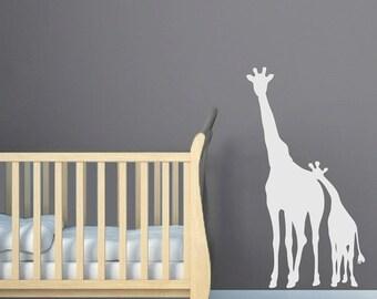 ON SALE Giraffe Wall Decal Childrens Jungle Safari Sticker Room Decor Wall Sticker Mom and Baby Giraffe Vinyl Decal- CA101