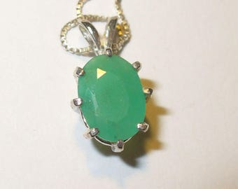 Chrysoprase Pendant Necklace in Sterling Silver  ~ Genuine, Natural Faceted Green Gemstone