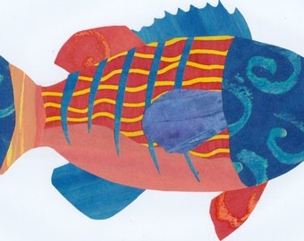 Fanciful Fish #4 - Original Collage from Hand Painted Papers