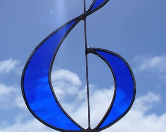 Treble Clef - Musical Gift - Cobalt Blue Stained Glass - Suitable for Men and Women