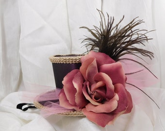 Headband Easter Mini Fascinator Handmade Hat Wine with Rose and Feathers
