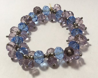 Blue and Lavender Vintage Faceted Crystal Stretch Bracelet