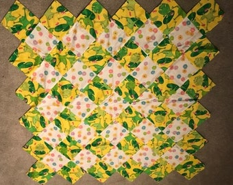 Unfinished Quilt Top Frogs and Flowers 46 x 46