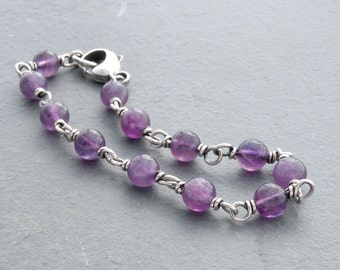 Amethyst Gemstone Bracelet, Amethyst Jewelry, Purple Round Beads with Sterling Silver Wire Wrap, #4751