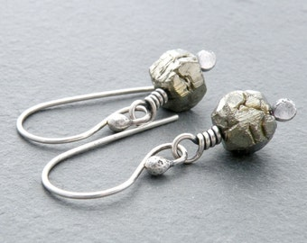 Pyrite Nugget Gemstone and Sterling Silver Wire Wrapped Dangle Earrings #4768