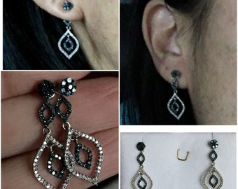 Diamond petal blue and white pave diamond .35 carat diamond stud earring ear jacket set evil eye dangle