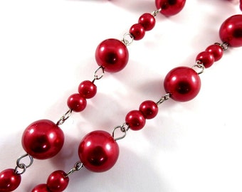 3ft Red Glass Pearl Chain Handmade 11mm and 6mm Nickel Plated Links Wedding Chain - 39 inch - STR9090CH-RD39