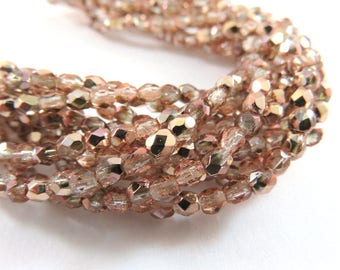 50 3mm Czech Apollo Gold Faceted Round Transparent Pink Glass Beads 3mm - 50 pc - G6067-APG50