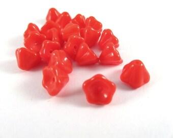 20 Red Orange Czech Glass Opaque Bell Flower Beads 8x5mm - 20 pc - 6522