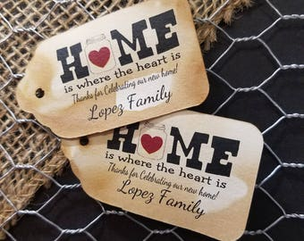 Home is where the heart is Personalized housewarming Favor Tag  choose your amount