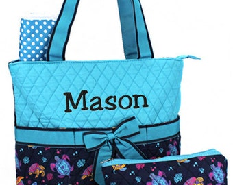 Personalized Diaper Bag Sea Turtles Blue Quilted Monogrammed Boy