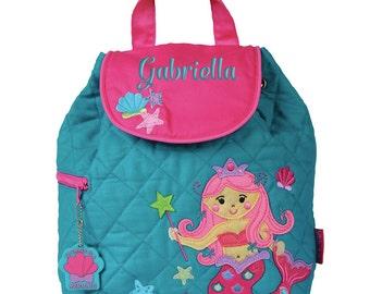 Girls Backpack Personalized Mermaid Stephen Joseph Quilted Preschool Toddler