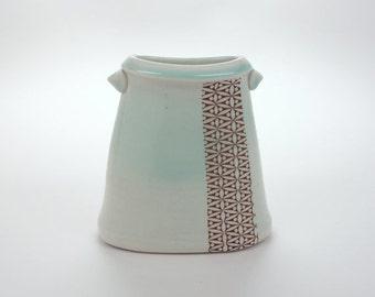 ON SALE Short oval porcelain vase with pale green celadon glaze