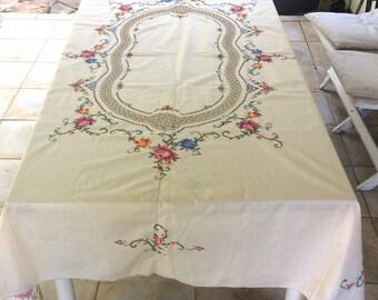 Cross Stitch tablecloth . crochet inserts tablecloth . Ukrainian tablecloth . Ukrainian folk embroidery . Ukrainian cross stitch