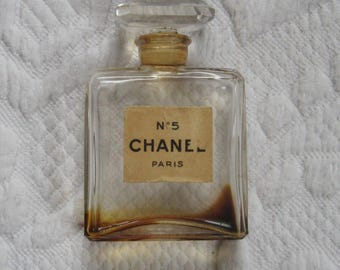 Vintage Chanel No.5 bottle . glass perfume bottle . chanel No5 bottle