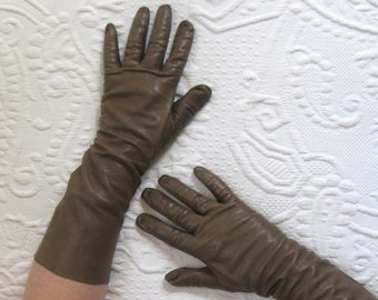 Vintage Long taupe Kid Leather Gloves . taupe black leather gloves . long kid leather gloves . size 7