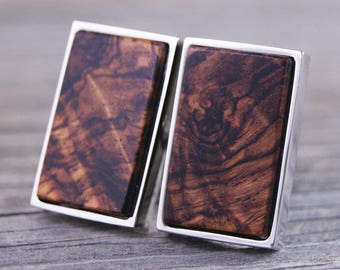 Cuff links - Honduras Rosewood Burl in Rectangle Silver Bezel cufflinks
