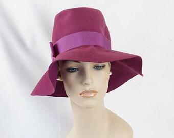 Vintage 1970s Hat Wide Floppy Brim Lilac by Betmar Sz 21