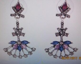 Vintage Inspired drop Earrings, Pink, blue and crystal earrings