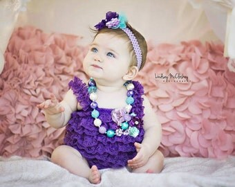 SALE Birthday Cake Smash Outfit Girl Purple Lace Romper Headband Necklace SET Baby Girl First Birthday Purple Aqua Blue Outfit, Photo Prop