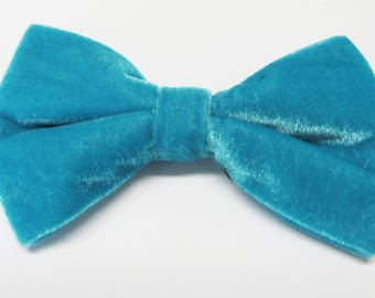 Mens Bowtie. Turquoise Teal Blue Bowtie With Matching Pocket Square